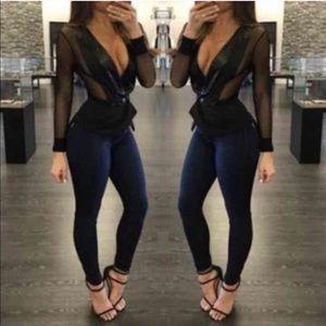 Jackets & Blazers - Black Mesh Blazer